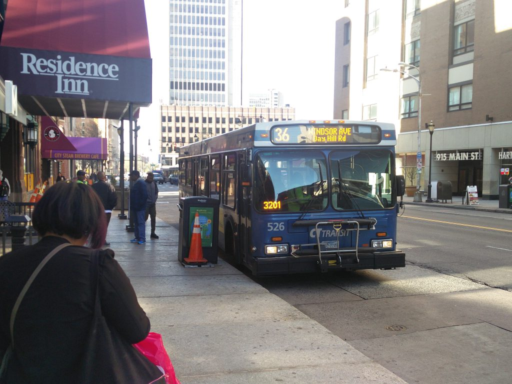 A CTtransit bus in Downtown Hartford.