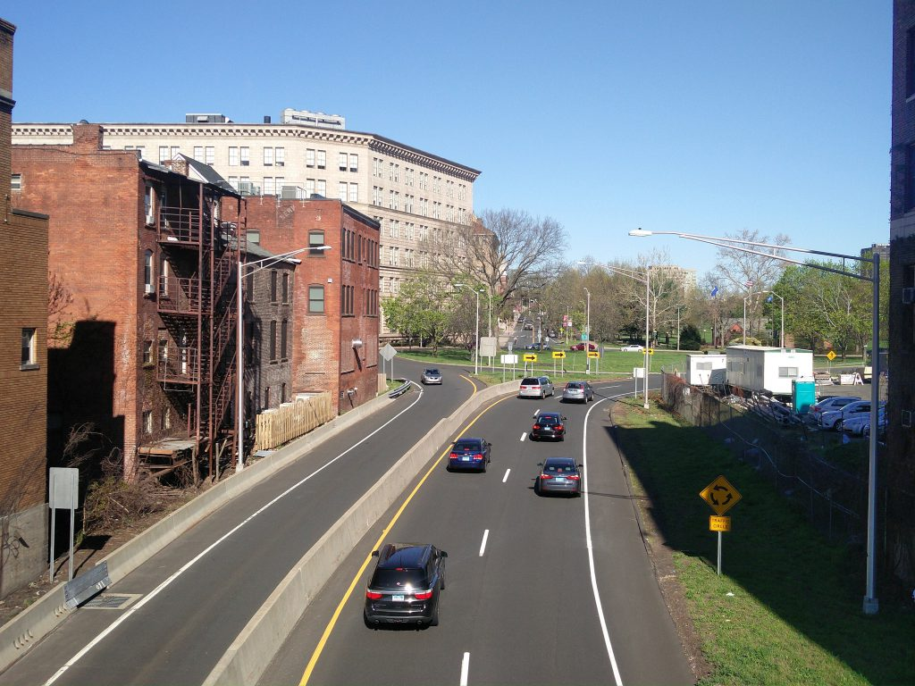 Whitehead Highway entering the Hartford capitol area.