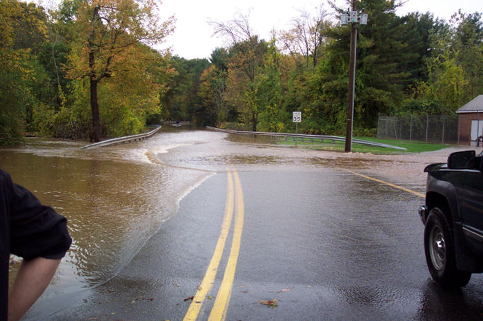 Impassable road due to flooding