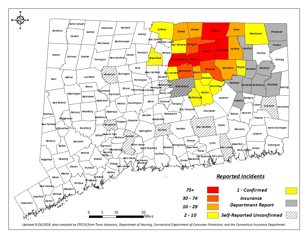 A map of towns affected by crumbling foundations - for full list and number contact CRCOG