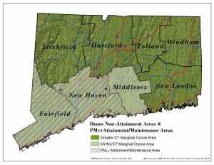 Connecticut Ozone Non-Attainment Areas Map