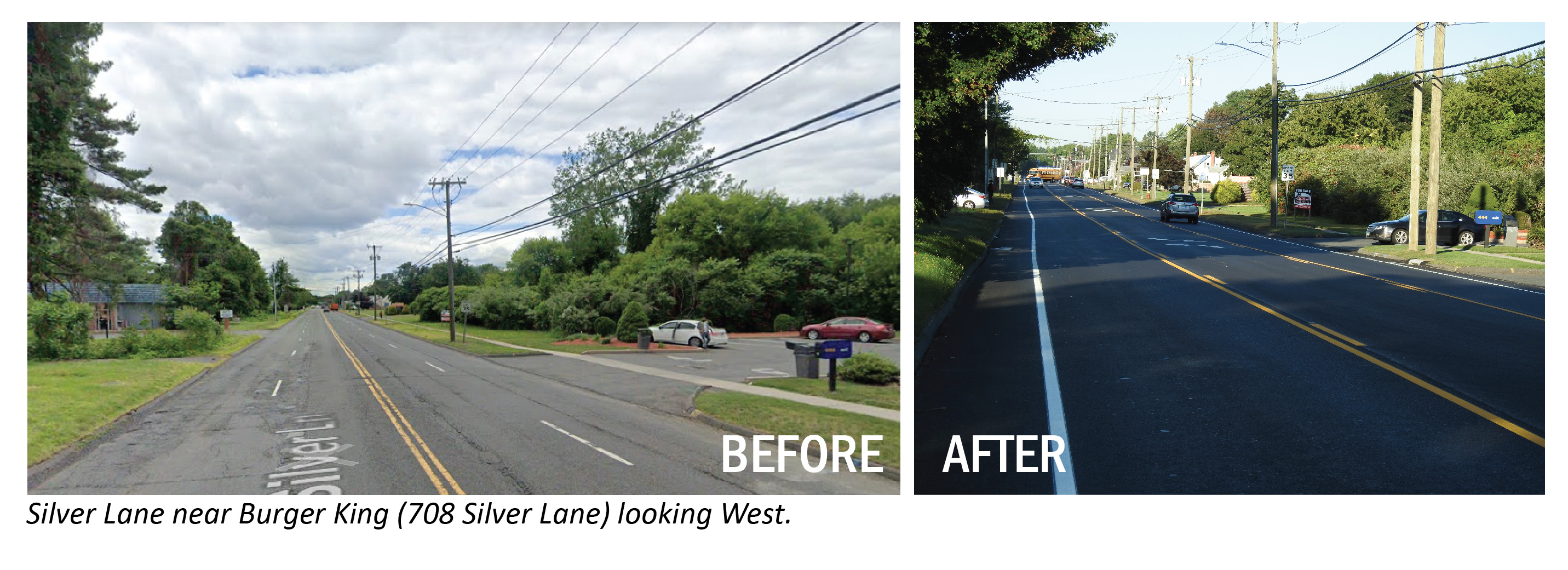 Before/After image of Silver Lane near Burger King looking west.