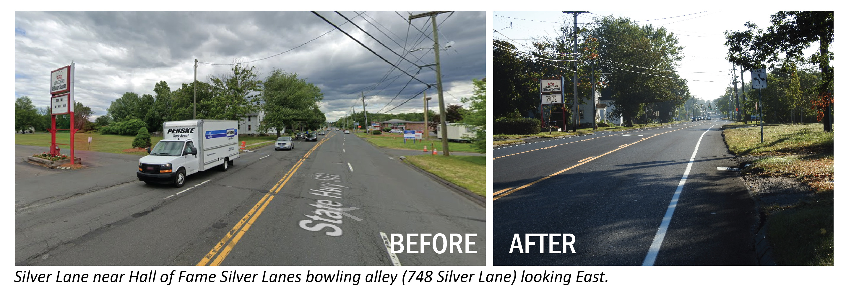 Before/After image of Silver Lane at Silver Lanes bowling alley looking east.