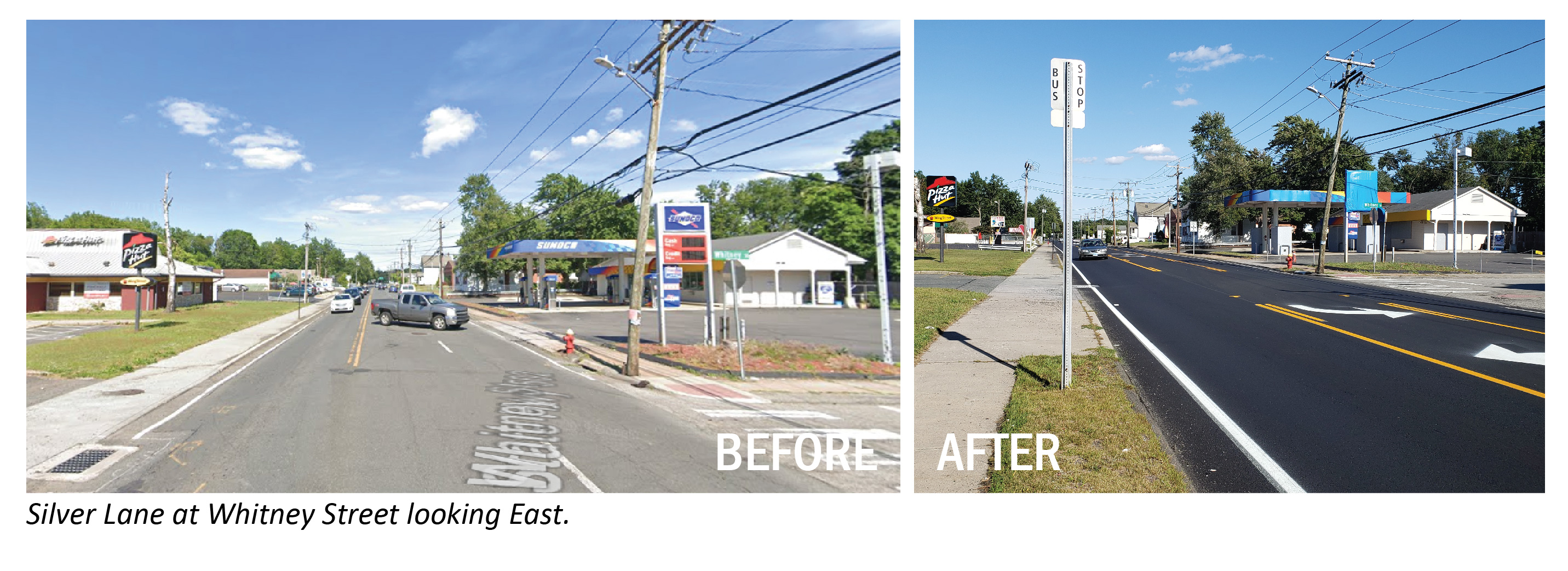 Before/After image at Whitney Street looking east.