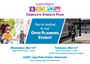 Flyer for the Open Planning Studio. Wednesday, May 16 from 12 PM to 6 PM and Thursday, May 17, from 9:00 AM to 8:00 PM. Public information meeting at 6:30 PM. reSET, 1429 Park Street, Hartford.