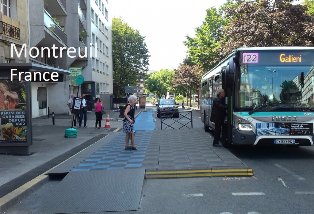 A floating bus stop in Montreuil, France
